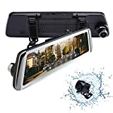 "Rexing M1 HD Dual Channel Rear View 10"" IPS Touch Screen Mirror Dash Cam 1296p + 720p Wide Angle Dashboard Streaming Media Recorder DVR with Rear Camera, G-Sensor, Loop Recording, Backup Camera"