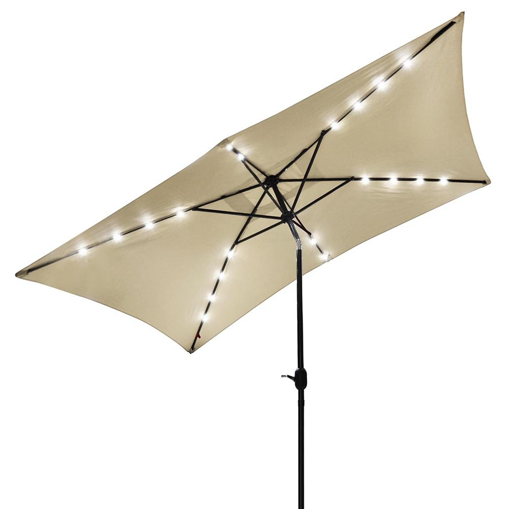 ZXYLH Windproof Large Vented UV Parasol Cover 3x2m Outdoor Patio Umbrella Market Style for Balcony Table Terrace Garden Deck or Yard with Tilt, 6 Sturdy Ribs Solar Powered 20 LED Lights Beige US Deli