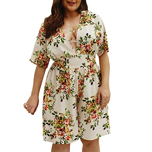 - Womens Boho Floral V-Neck Holiday Mini Playsuit Summer Beach Jumpsuit Romper White