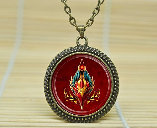 (SunShine Day Fashion Necklace Wow World Of Warcraft Necklace Blood Elf Crest Horde Jewelry Necklace Glass Cabochon Necklace A3130)