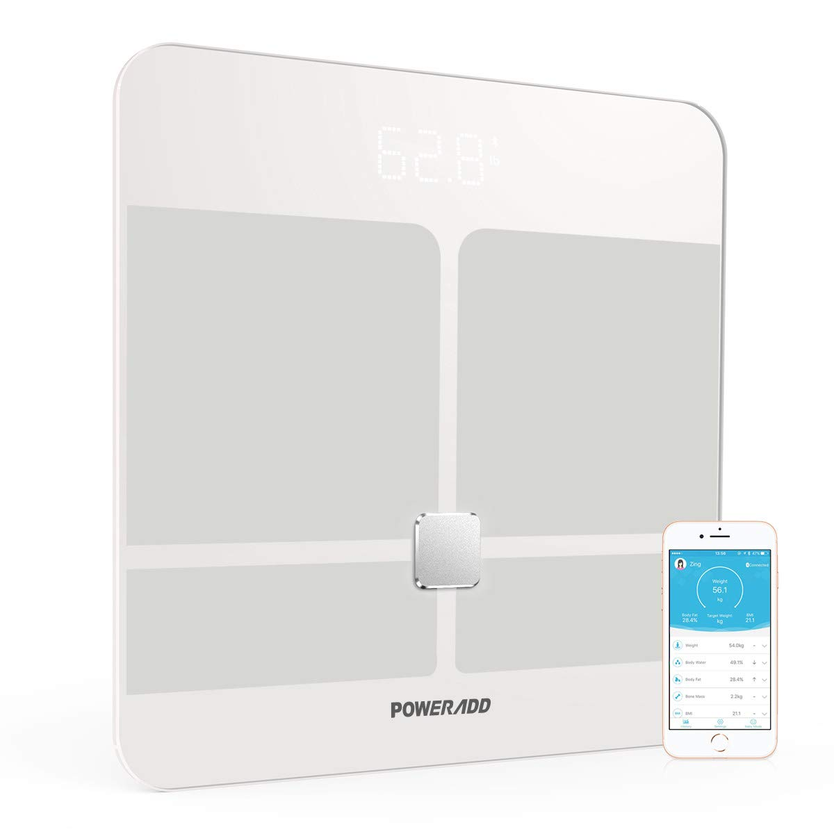 Body Fat Scale, Poweradd Digital Smart Scale, Body Composition Analyzer ITO Technology for Body Weight, Body Fat,Hydration, Bone Mass and Muscle, Bmi, Bmr Visceral Fat with iOS and Android APP