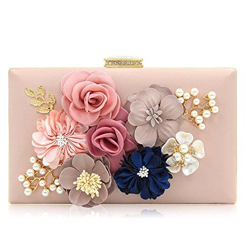 PARADOX (LABEL) Women Flower Clutches Evening Handbags Wedding Clutch Purse (Rose Gold)