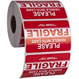 "Kenco 3"" X 2"" Fragile Handle with Care Warning Stickers for Shipping and Packing - 500 Permanent Adhesive Labels Per Roll (1 PACK)"