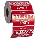 Kenco 3' X 2' Fragile Handle with Care Warning Stickers for Shipping and Packing - 500 Permanent Adhesive Labels Per Roll (1 Pack)
