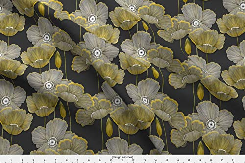 Poppies Fabric - Floral Hand Drawn Flowers Grey and Yellow Sfaut15 - by J9design Printed on Fleece Fabric by The Yard -
