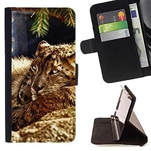 - ANIMAL CAT LEOPARD NATURE BEAST FURRY - - Prima caja de la PU billetera de cuero con ranuras para tarjetas, efectivo desmontable correa para l Funny HouseFOR HTC One M8