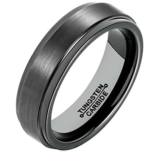 Mens Black 6mm Tungsten Carbide Ring Simple Style Wedding Jewelry Engagement Promise Band for Him Matte Finish Comfort Fit