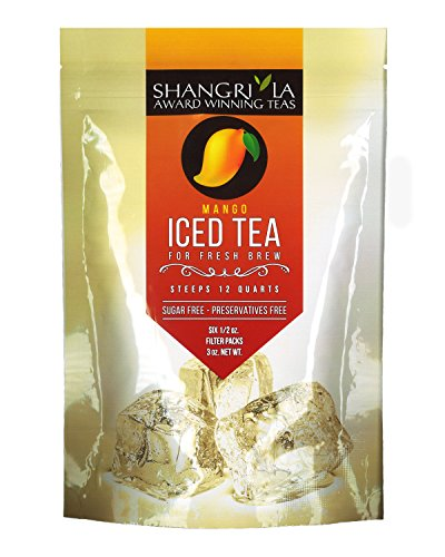 Shangri La Tea Company Iced Tea, Mango, Bag of 6, 1/2 Ounces Pouches (Packaging May Vary)