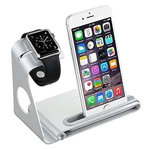 Soporte para iPhone y Apple Watch,VicTsing 2 en 1 Soporte de Aleación de Aluminio para Apple Watch,Plataforma de Cargar para iPhone 6,Soporte Movil Cargador para iPhone 7|7 plus(NO INCLUYE CABLE)