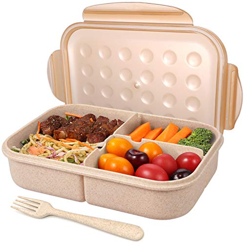 Bento Box for Adults Lunch Containers for Kids 3 Compartment Lunch Box Food Containers Leak Proof(Includes Flatware, Champagne)