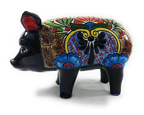 Ceramic Pig (Hog)- Authentic Mexican Pottery for Indoor and Outdoor Decor by Talavera