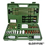 GLORYFIRE Universal Gun Cleaning Kit Hunting Rifle Handgun Shot Gun Cleaning Kit for All Guns with Case Travel Size Portable Metal Brushes Bass Jags Tips Adapters