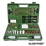 GLORYFIRE Universal Gun Cleaning Kit Hunting Rilfe Handgun Shot Gun Cleaning Kit for All Guns with Case Travel Size Portable Metal Brushes (Green 2)
