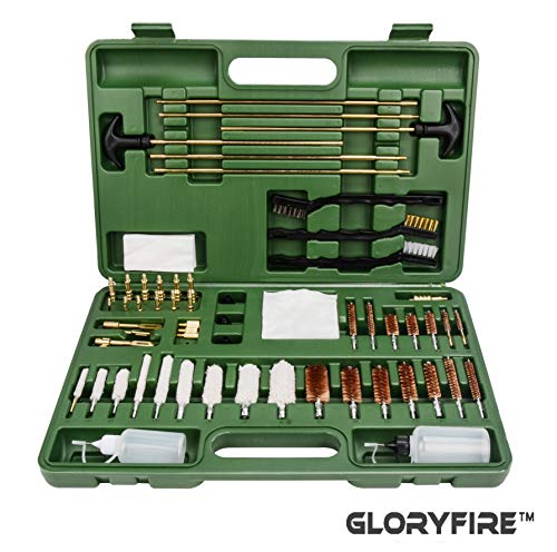 GLORYFIRE Universal Gun Cleaning Kit Hunting Rifle Handgun Shot Gun Cleaning Kit for All Guns with Case Travel Size Portable Metal Brushes Bass Jags Tips Adapters (Best 22 250 Rifle On The Market)