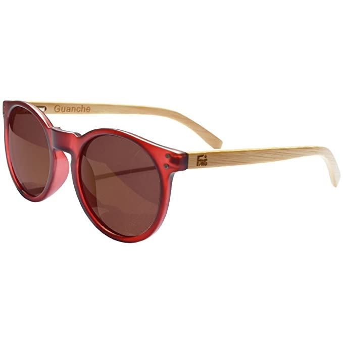 Gafas De Sol Fans Con Bambú, Polarizadas, Guanche, Unisex, Frosted Burgundy