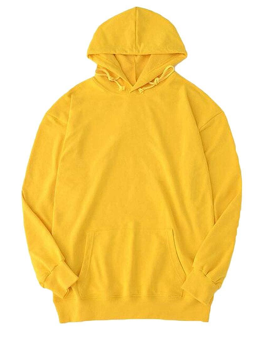 Hajotrawa Mens Casual Hoodies Drawstring Solid Top Pullover Sweatshirts