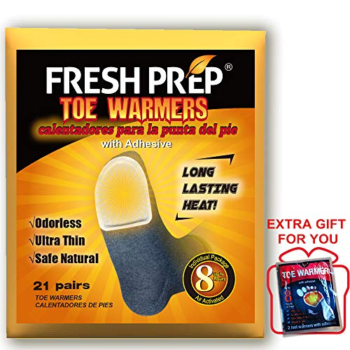 FRESH PREP Toe Warmers Individual Packs Heating Pads - Air Activated Safe Natural Odorless Warmers, Disposable with Adhesive Back, 21 Pairs