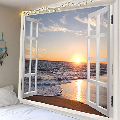 (Homiest 3D Ocean Tapestry Wall Hanging Sun Sunset Sea Beach Landscape Tapestry Window Tapestries for Bedroom Living Room Home Decor 51x59)