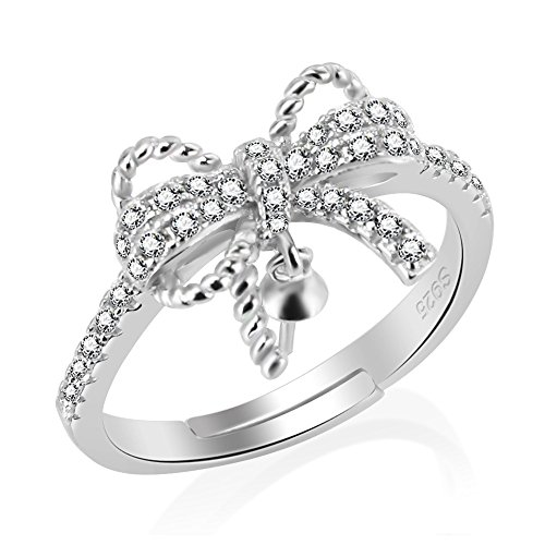 925 Sterling Silver Adjustable Bow Ring for Women Pearl Jewelry Making, Design Pearl Ring Fitting for Women DIY Jewelry