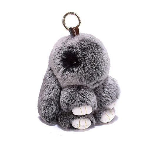 (ETENOVA Bunny Keychain Soft Cute Rex Rabbit Fur Keychain Car Handbag Keyring Bag Charms Pendant)