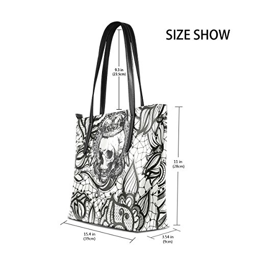 Crown Satchel Tote Purse Women's Handbags Skull Large Handle Top Bags Shoulder Bennigiry wXqCpH55