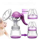 Manual Breast Pump with Lid for Breastfeeding using only 100% Food Grade, BPA-Free Breastpump Materials for Breast Feeding