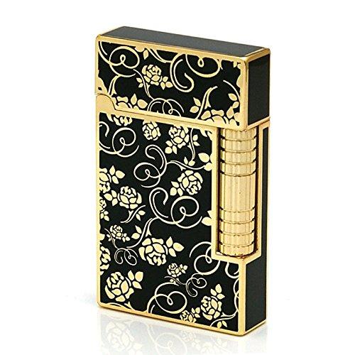 Gold Roses Flint Wheel Cigarette Butane Gas Metal Lighter