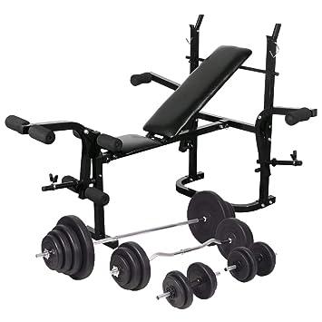 vidaXL Banco Soporte Barras Mancuernas 120 kg Musculación Pesas ...