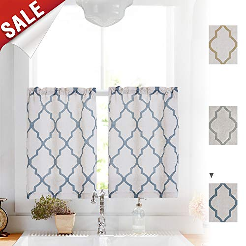 Moroccan Print Tier Curtains for Kitchen, Moroccan Print Cafe Curtains Kitchen Window Curtain Sets for Bathroom (1 Pair 26