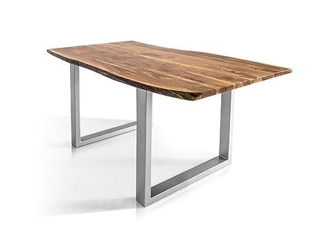 moebel-eins Athen Baumkantentisch Esstisch Akazie Holztisch Massivholztisch  Esszimmertisch Tisch Baumkante Metallfuß 180 x 90 cm, 180 x 90 cm