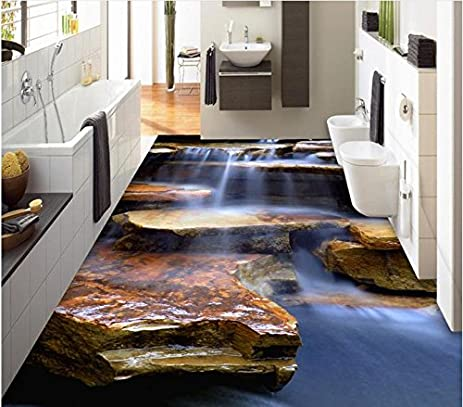 lqwx custom 3d floor stream waterfall waterproof wallpaper for bathroom 3d floor murals self adhesive - Wallpaper For Bathroom
