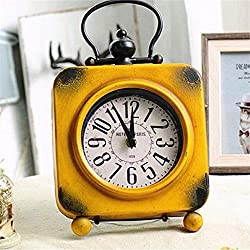 Zdtxkj Desk Table Clocks Retro Vintage Square Wrought Iron Clock Home Desktop Decoration Iron 18.8X4.5X31.5Cm Small Clock for Home