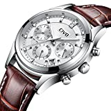 CIVO Mens Brown Chronograph Watch Multifunctional Date Calendar Luxury Casual Business Analogue Quartz Wrist Watches with Genuien Leather Band Silver Dial