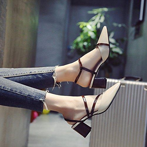 SHOESHAOGE Sugerencia Sandalias Zapatos De Mujer Con Zapatos High-Heeled Baotou Ranurado ,Eu39 EU40