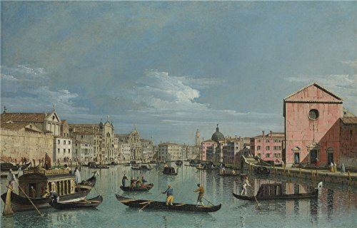 [Oil Painting 'Bernardo Bellotto - Venice - The Grand Canal Facing Santa Croce,perhaps 1740s' 8 x 13 inch / 20 x 32 cm , on High Definition HD canvas prints, gifts for Bath Room, Home Office An] (Guys And Dolls Costumes Era)