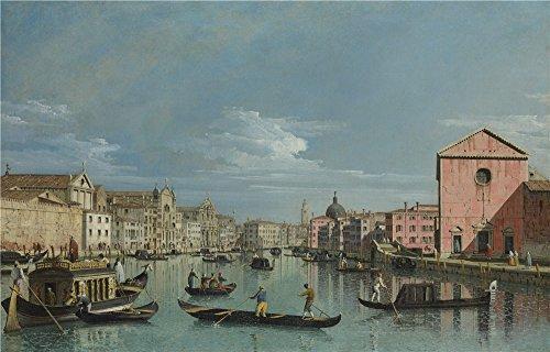 のポリエステルキャンバス地の油絵BERNARDO BELLOTTO Venice The Grand Canal facing Santa Croce」、サイズ: 24X 38インチ/ 61x 95cm、このジムの装飾、最高の価格アート装飾プリントキャンバスは、フィットホームアートワークとギフトの商品画像