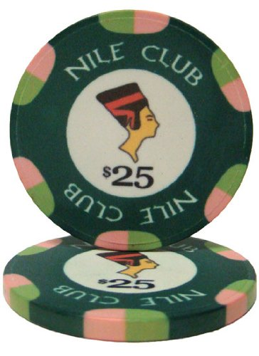 - 25 $25 Nile Club 10 Gram Ceramic Casino Quality Poker Chips