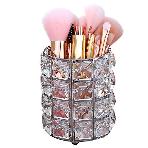 Smi&Love Makeup Brush Holder Crystal Makeup Brush Organizer Storage Bucket Eyebrow Pencil Pen Cup Tools Container (Silver) ()