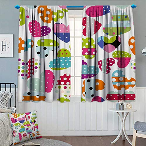 Patterned Drape for Glass Door Heart Shapes with Patches and Polka Dots Cute Cheerful Pattern Design Artwork Waterproof Window Curtain 55