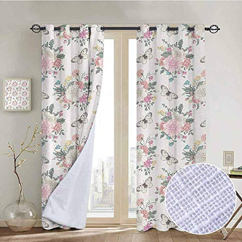 NUOMANAN Window Curtains Shabby Chic,Peonies Sweet Peas Roses Bouquet and Butterflies Pastel Tones Bridal Theme,Soft Pink Green,Tie Up Window Drapes Living Room 52