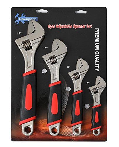 "Navegando 4Pcs Adjustable Wrenches 6"" 8"" 10"" 12"" Set Tools Kit"