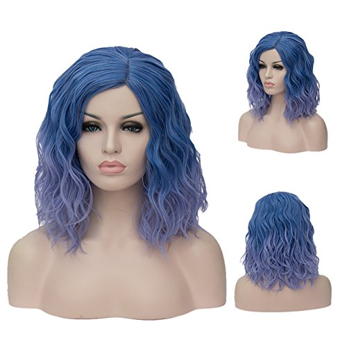 TopWigy Women's Cosplay Wig Medium Length Curly Body Wave Colorful Heat Resistant Hair Wigs Costume Party Bob Wig+Wig Cap (Blue to (Cheap Colorful Costumes Wigs)