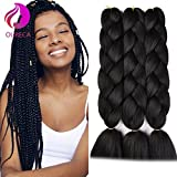 #9: Kanekalon Jumbo Braiding Hair Extensions High Temperature Fiber Crochet Twist Braids With Small Free Gifts 24inch 3pcs/lot(Black)