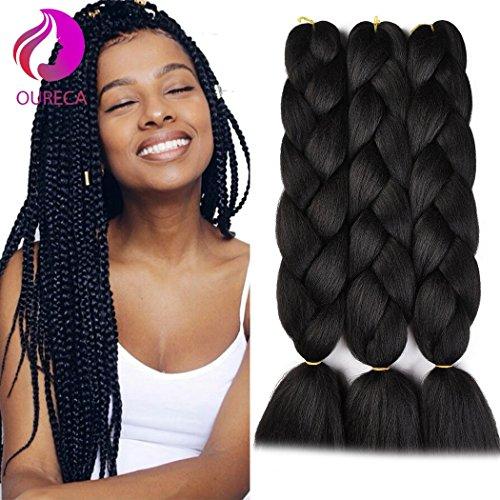 - Kanekalon Jumbo Braiding Hair Extensions High Temperature Fiber Crochet Twist Braids With Small Free Gifts 24inch 3pcs/lot(Black)