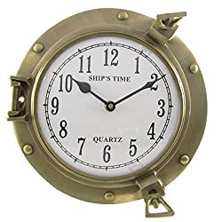 Treasure Gurus Ships Time Solid Brass Porthole Wall Clock Quartz Movement Nautical Coastal Home Decor