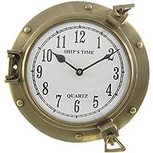 "Antique Brass Ship Porthole Clock 9"""