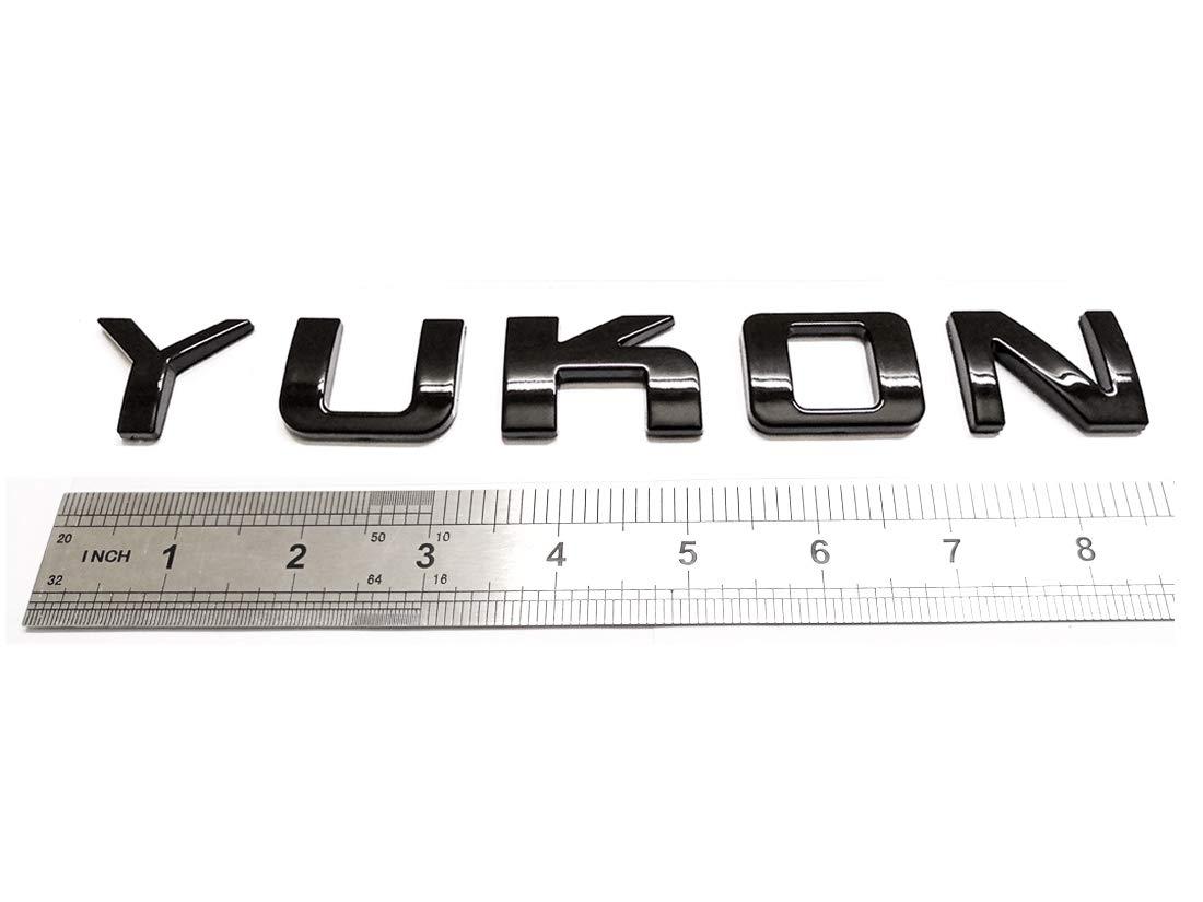 Emzscar 1x Yukon Nameplate Emblem ABS Letter Badge 3D Replacement for GMC Yukon Sierra Terrain Suburban Glossy Shiny Black