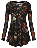 Ladies Blouses, BAISHENGGT Women's Printed Casual Knit Shirts Long Sleeve Tunic Tops Blouse Black Floral 3 Medium