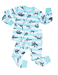 "Babylike ""dinosaur"" little boys 2 Piece Pajama 100% Cotton(Size 2-7 Years)"