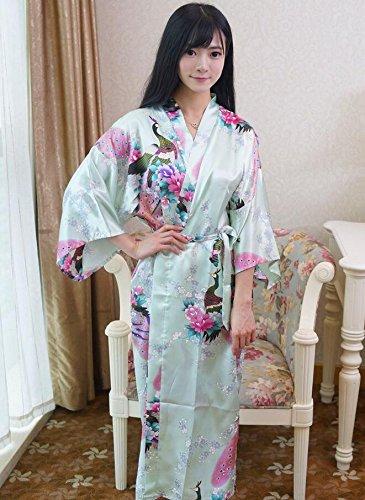 ZC&J Sra. Nacionales viento pijama de seda albornoz verano larga sección de vestido de gasa de seda,yellow,All code Light Green